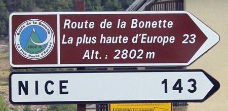 Route de la Bonette, panneau