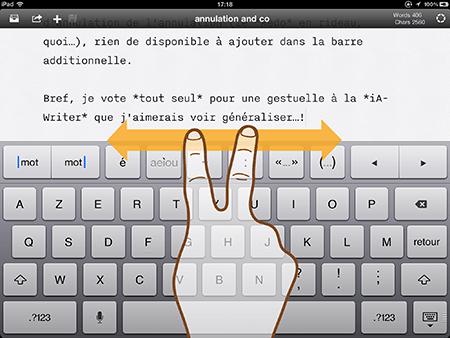 Deux doigts sur iA-Writer…