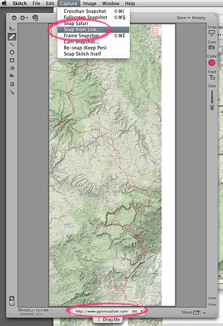 …Dans Skitch, il a suffit de rentrer lURL de limmense image obtenue avec GPSVizualiser. Ensuite, facile de lexporter dans le format image de son choix.