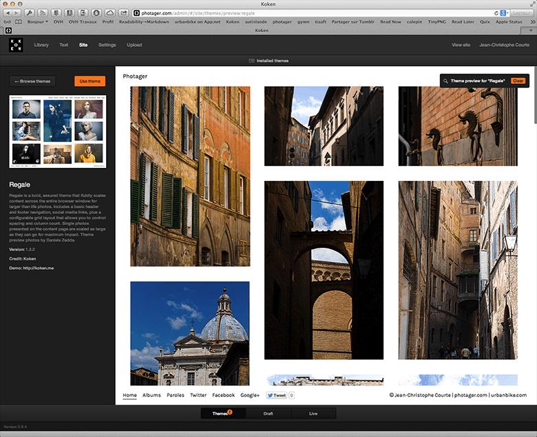 Parfois, il faut arbitrer entre beauté du thème et vitesse daffichage de vos images