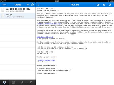 Un exemple de plusieurs notes ajoutées sur DropBox…