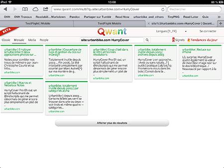 Résultats proposés par Qwant dans urbanbike…