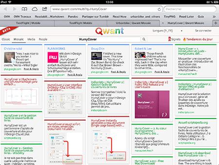 Résultats proposés par Qwant pour tous les sites qui en parlent…