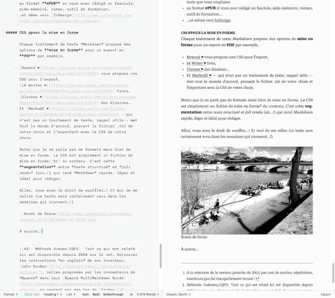 Un exemple dans iA Writer sur Mac